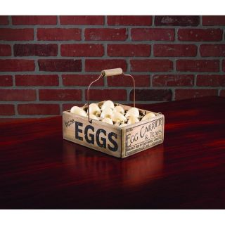 Swing Handle Wood Egg Carrier With Eggs Primitive Country Farmhouse Decor photo