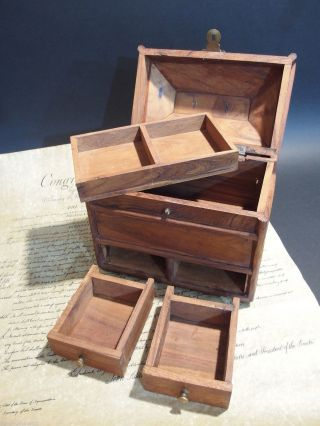 Antique Vintage Style Collectors Campaign Chest Wood Box W Secret Comparments photo