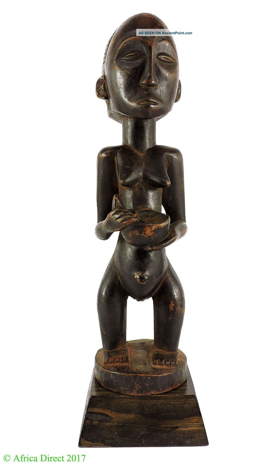 Luba Female Holding Bowl Congo Africa Miniature Was $95 Sculptures & Statues photo