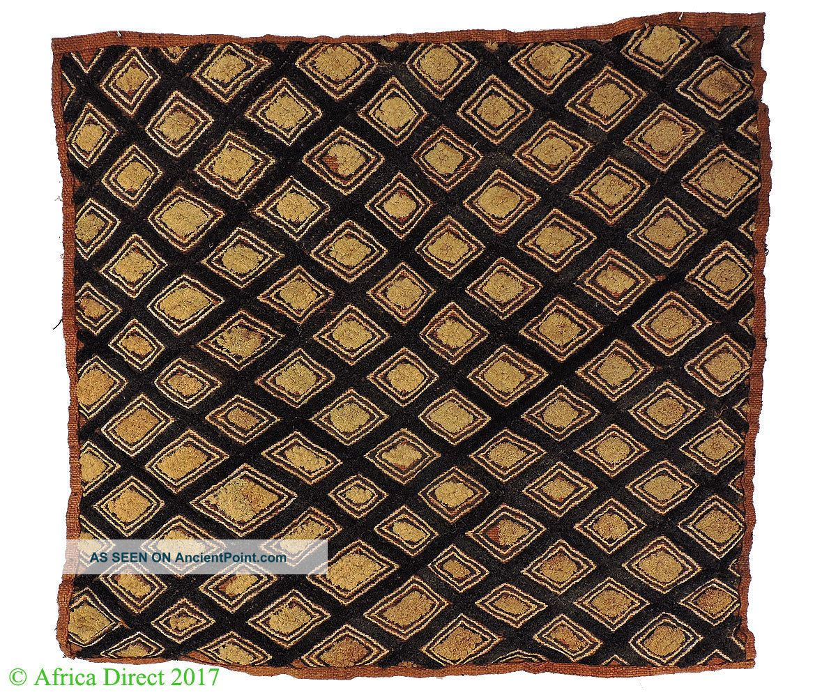 Kuba Square Raffia Handwoven Textile Congo African Art Was $49 Other African Antiques photo