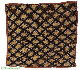 Kuba Square Raffia Handwoven Textile Congo African Art Was $49 photo