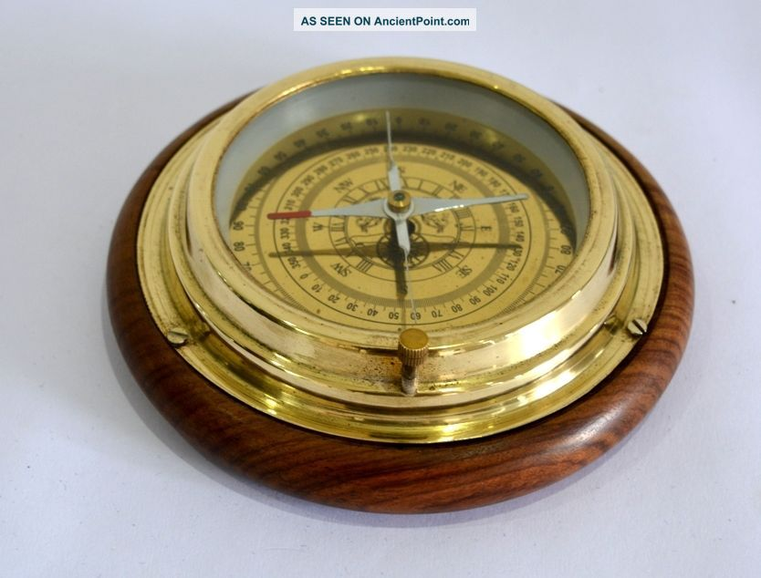 Nautical Maritime 6inch Brass Four Way Desk Compass With Wooden Base Compasses photo