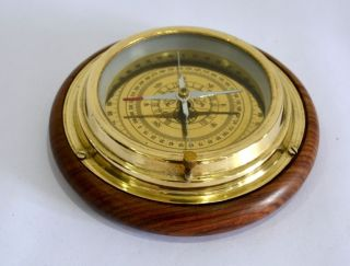 Nautical Maritime 6inch Brass Four Way Desk Compass With Wooden Base photo