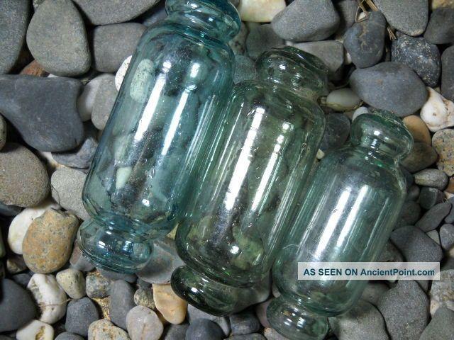 .  3 Diff Size Rolling Pin Glass Floats Vintage Alaska Fishing Nets & Floats photo