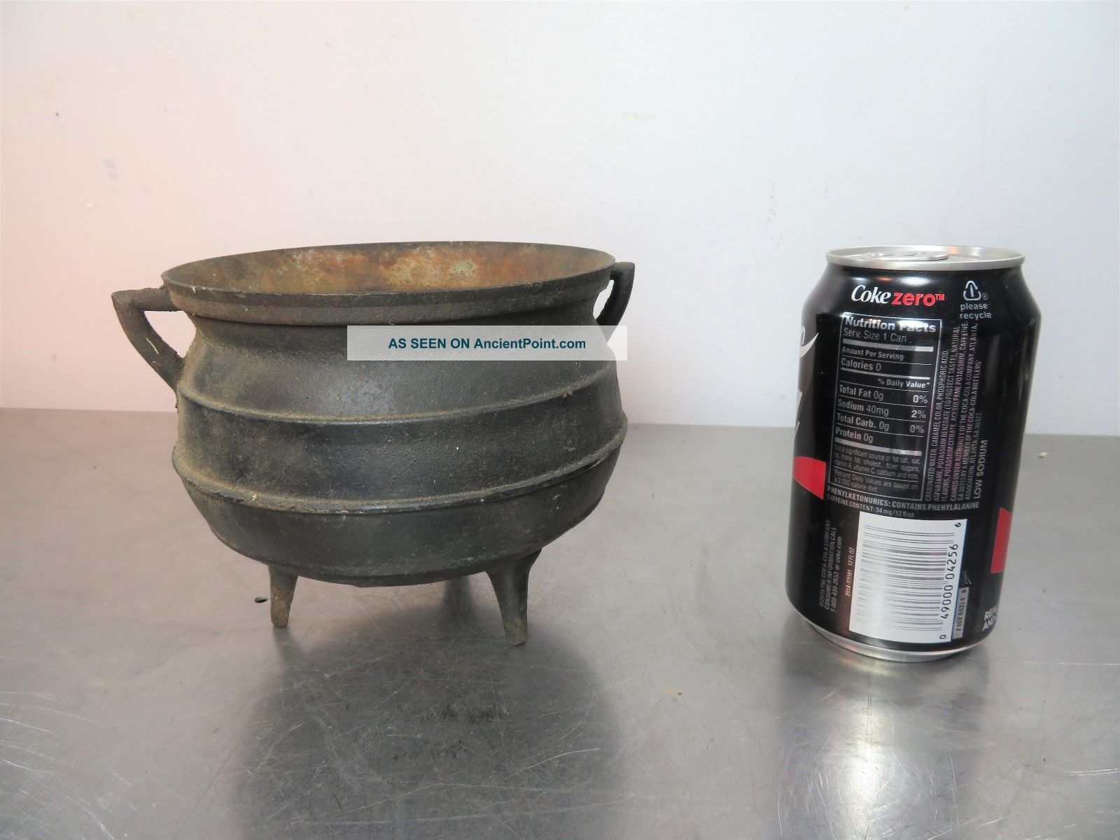 Old Vintage Antique Cast Iron Miniature Kettle Cauldron Pot Collectible Hearth Ware photo