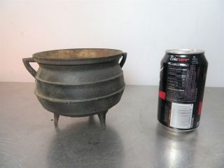 Old Vintage Antique Cast Iron Miniature Kettle Cauldron Pot Collectible photo