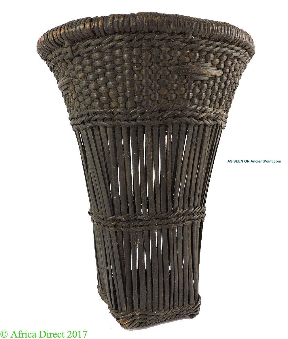 Kuba Basket Dark Brown Handwoven Congo African Art Other African Antiques photo