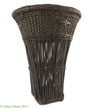 Kuba Basket Dark Brown Handwoven Congo African Art photo