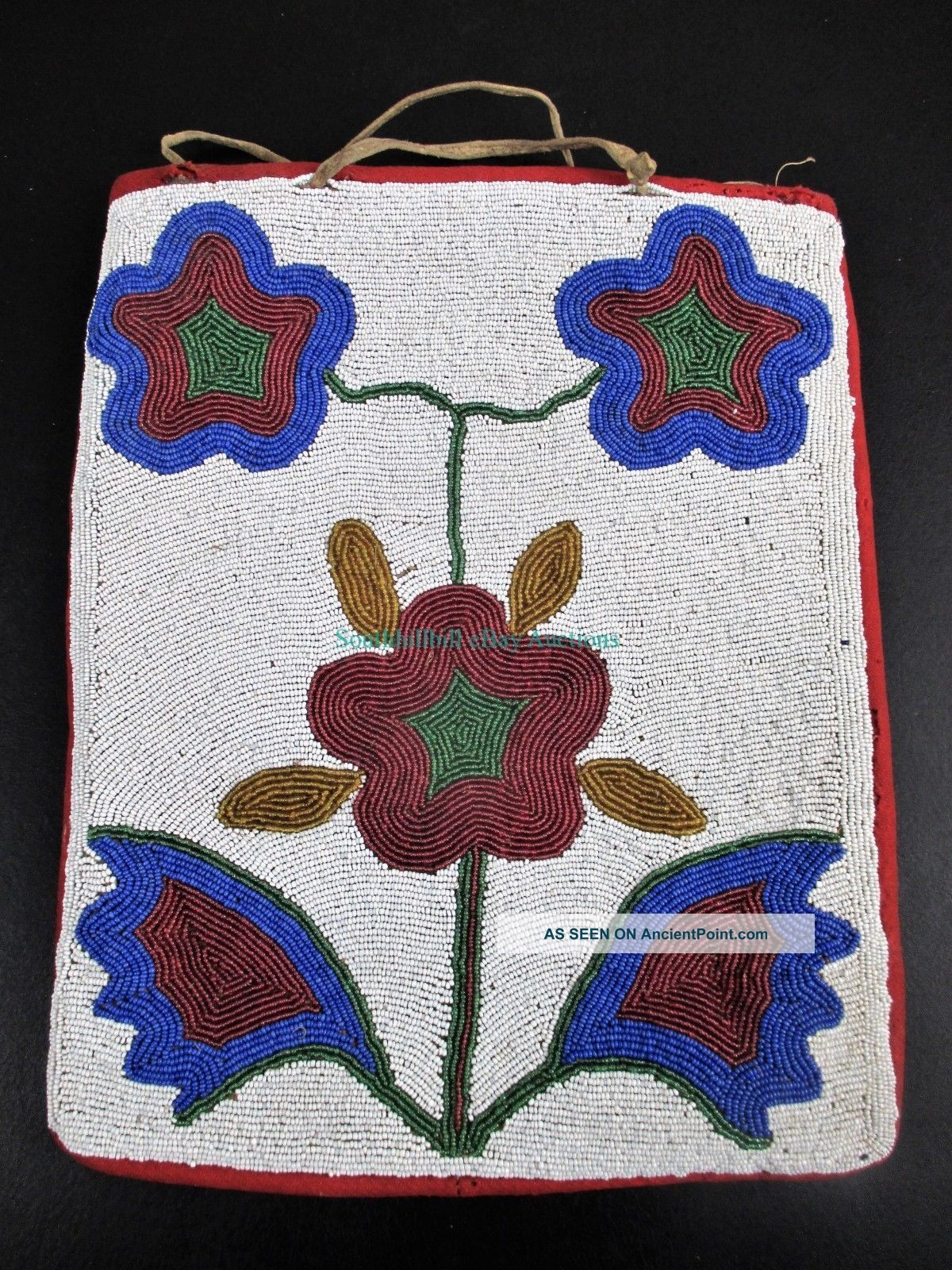 Rare Antique Native American Indian Beaded Flowers Purse Plateau Bag Native American photo