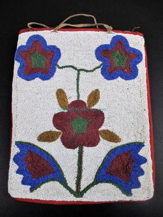 Rare Antique Native American Indian Beaded Flowers Purse Plateau Bag photo