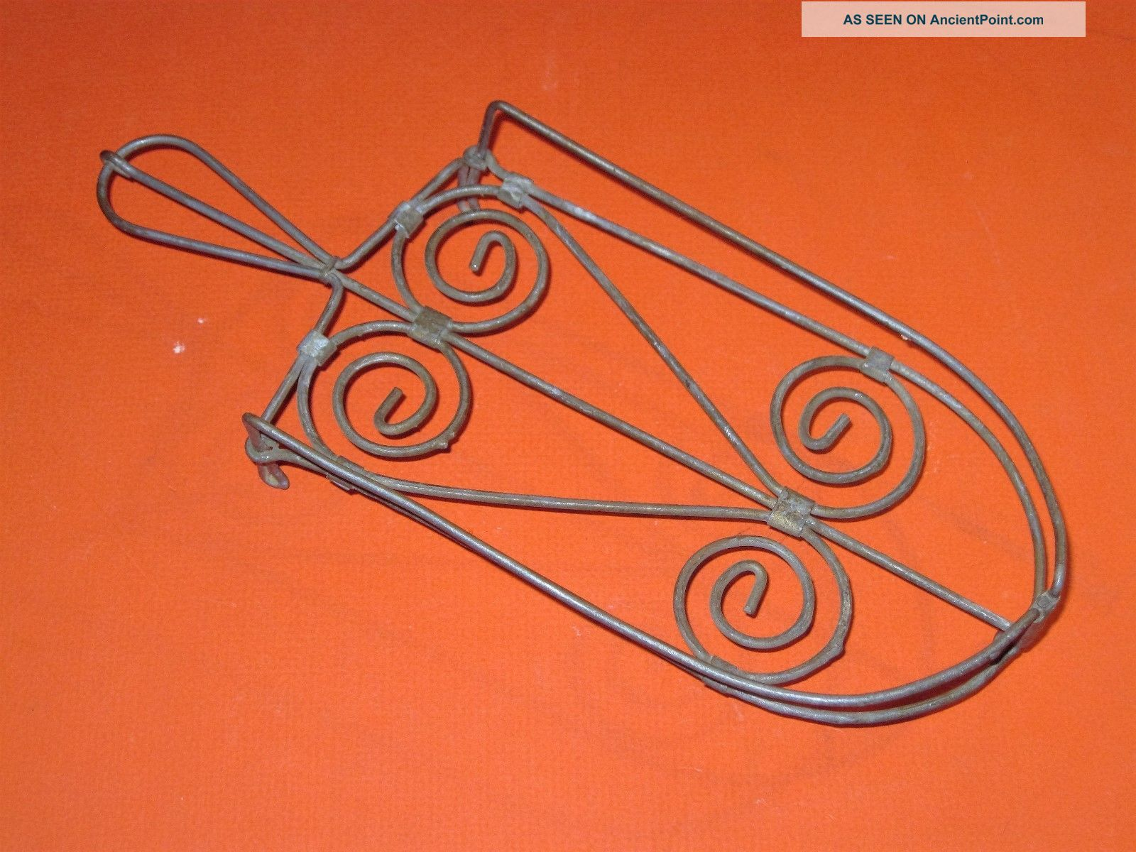 Vintage Primitive Old Twisted Wire Trivet Stand For A Clothes Iron Folky Trivets photo