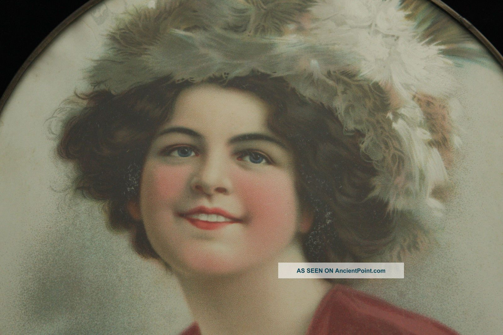 Vintage Victorian Woman In Fur Hat Colorful Dress Portrait Flue Cover Other Antique Home & Hearth photo