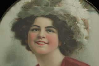 Vintage Victorian Woman In Fur Hat Colorful Dress Portrait Flue Cover photo