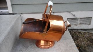 Vtg White Handle Copper Coal Scuttle Ash Bucket W - Shovel Fireplace Wood Stove photo