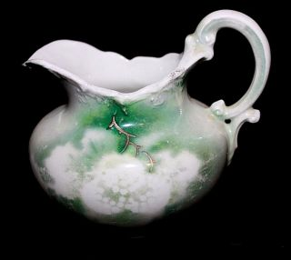 Antique Early 1900 ' S Weimar Porcelain Creamer,  Gold,  Green On White Germany photo