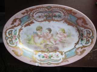 Antique Sevre Porcelain Oval Cherub Cupids Babies Pink Blue Plate France Marked photo