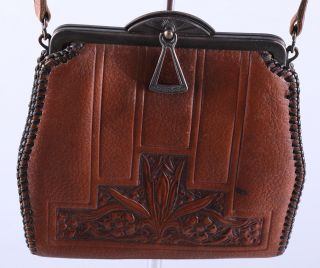 Embossed Leather C.  1910 Arts & Crafts Aesthetic Leather Woman ' S Purse Handbag photo