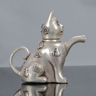 Old Chinese Cupronickel Handwork Cat Shaped Teapot W Xuande Mark photo