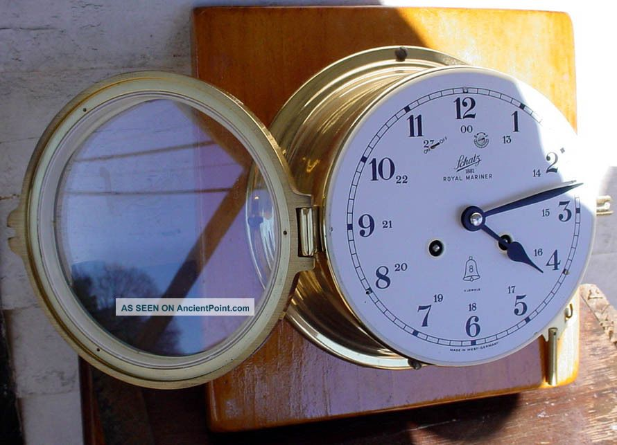 Vintage Brass Schatz 1881 Royal Mariner Ships Bells 11 Jewel Ship Wall Clock Nr Clocks photo