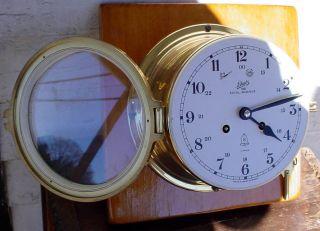 Vintage Brass Schatz 1881 Royal Mariner Ships Bells 11 Jewel Ship Wall Clock Nr photo