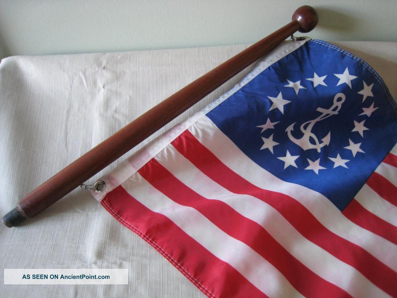 Vintage Mahogany Wood Boat Flag Pole W/anchor Flag Chris Craft Solid Other Maritime Antiques photo