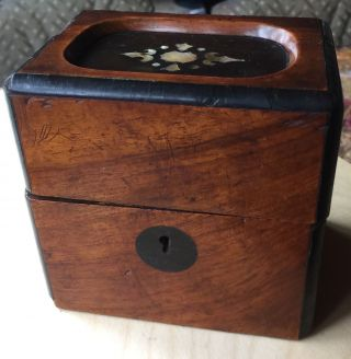 Antique 18thwalnut Inlay Box Keyhole photo