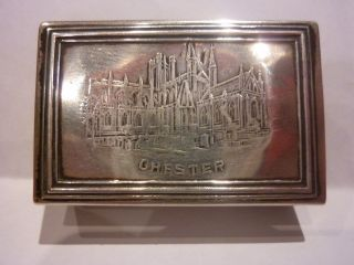 Antique Silver Matchbox Holder 1902 Chester Cathedral photo