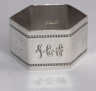 24g Vintage Sterling Silver Napkin Ring - Polygon - Engraved/beaded photo