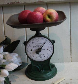 Vintage English Salter Kitchen Scale Green Paint & White Enamel Face photo