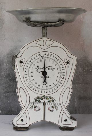 Rare Antique German Haushalt - Wage Scale Cast Iron With White Enamel Face photo