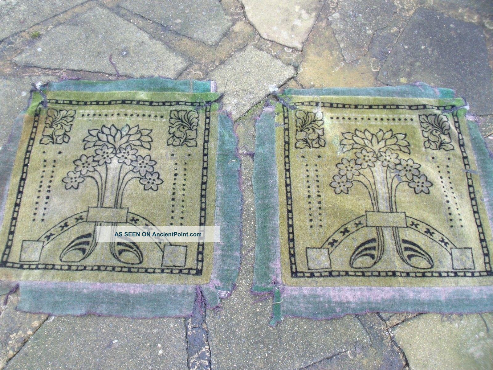 2 Art Nouveau Cotton Plush Fabric Panels Art Nouveau photo