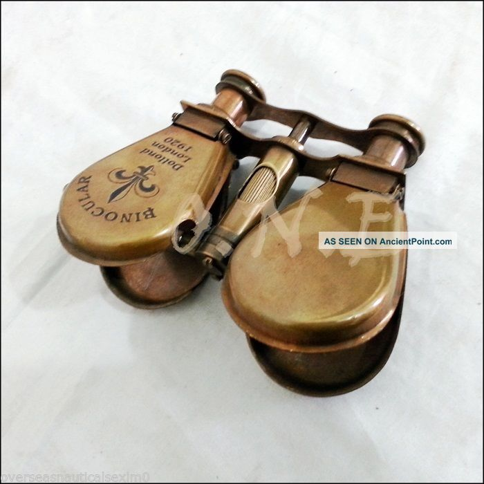 Antique Brass Maritime Binocular Telescope Spyglass Maritime Gift Decor Marines Telescopes photo