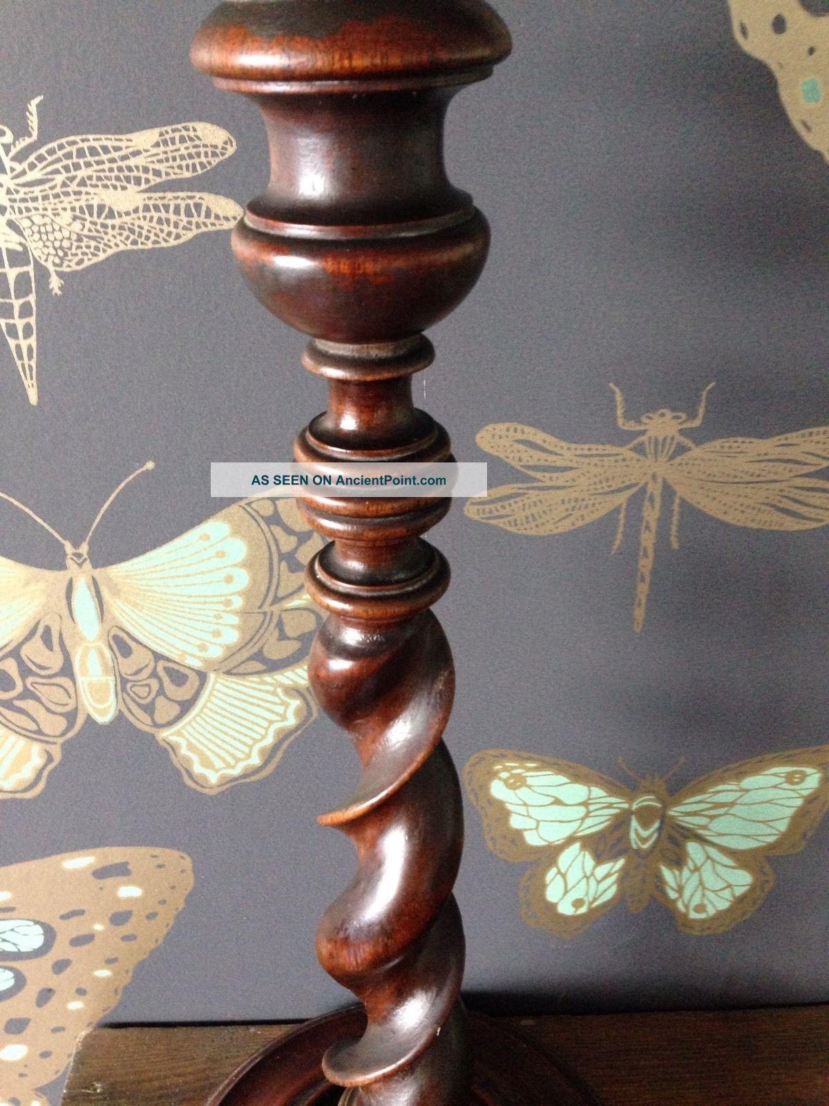 Antique Barley Twist Wooden Table Lamp Edwardian (1901-1910) photo