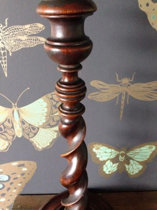 Antique Barley Twist Wooden Table Lamp photo