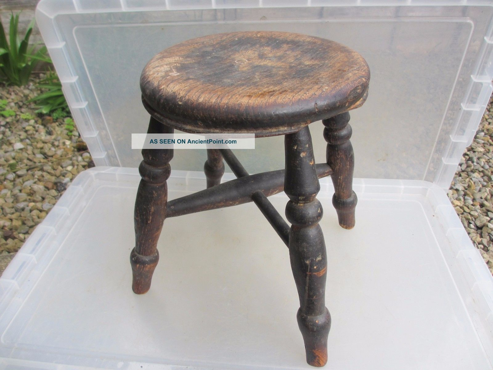 Antique Wooden Stool Bench Seat Children Kids Milking Vintage French Old 1900-1950 photo
