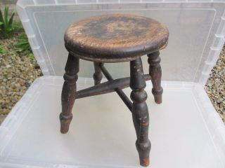 Antique Wooden Stool Bench Seat Children Kids Milking Vintage French Old photo