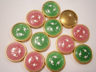 12 Pink & Green Group French Enamel Buttons Nos photo
