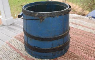 Antique Primitive Wood Wooden Bucket Blue Paint Bail Handle Prim Pail photo