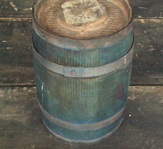 1800s Small Barrel Staved 4 Bands Plug Blue Paint Southern Heart Pine 8 1/2