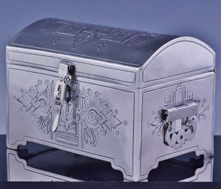 Rare C1880 Moscow Russian Solid Silver Figural Etched Tea Caddy Box Table Casket photo