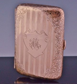 Rare Victorian English 9k Solid Rose Gold Etched Cigarette Case Box N/r photo