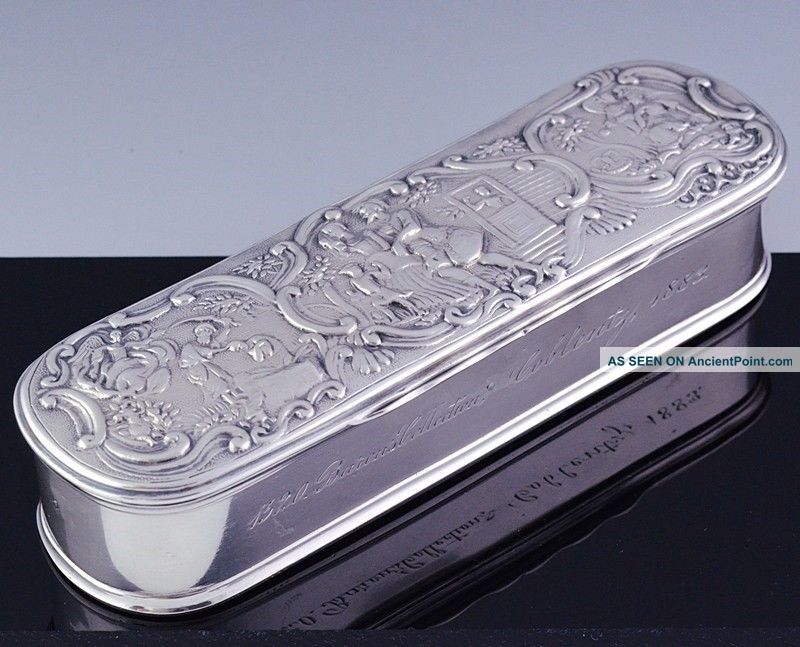 Large 1883 Victorian Dutch Solid Silver Figural Repousse Snuff Patch Jewelry Box Boxes photo