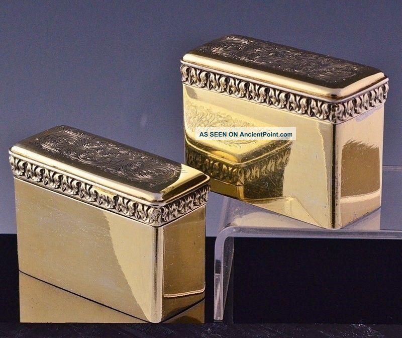 Incredible Pair 1824 Georgian Gold Gilt Sterling Silver Snuff Vinaigrette Box Boxes photo