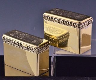 Incredible Pair 1824 Georgian Gold Gilt Sterling Silver Snuff Vinaigrette Box photo