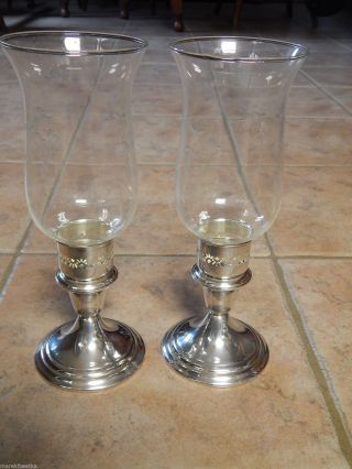 Gorham Sterling Silver & Art Deco Cut Glass Hurricane Candleholder Pair photo