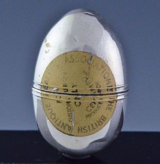 Rare 1794 Georgian London Sterling Silver Egg Form Sewing Thread Case Snuff Box photo