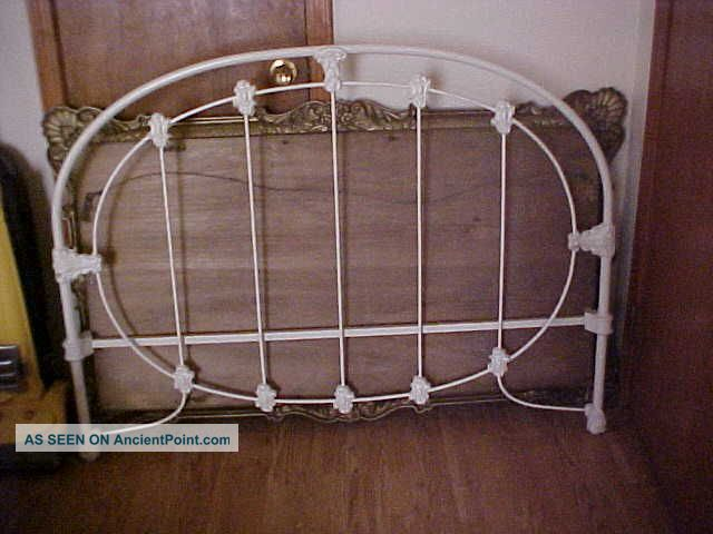 Vintage Wedding Ring Iron Bed Steel Head Board Foot Board W Rails Restore 1900-1950 photo