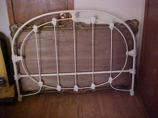 Vintage Wedding Ring Iron Bed Steel Head Board Foot Board W Rails Restore photo