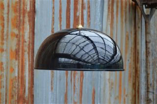 Large 1970 ' S Retro Style Black Gloss Half Ball Ceiling Pendant Light Lamp Shade photo
