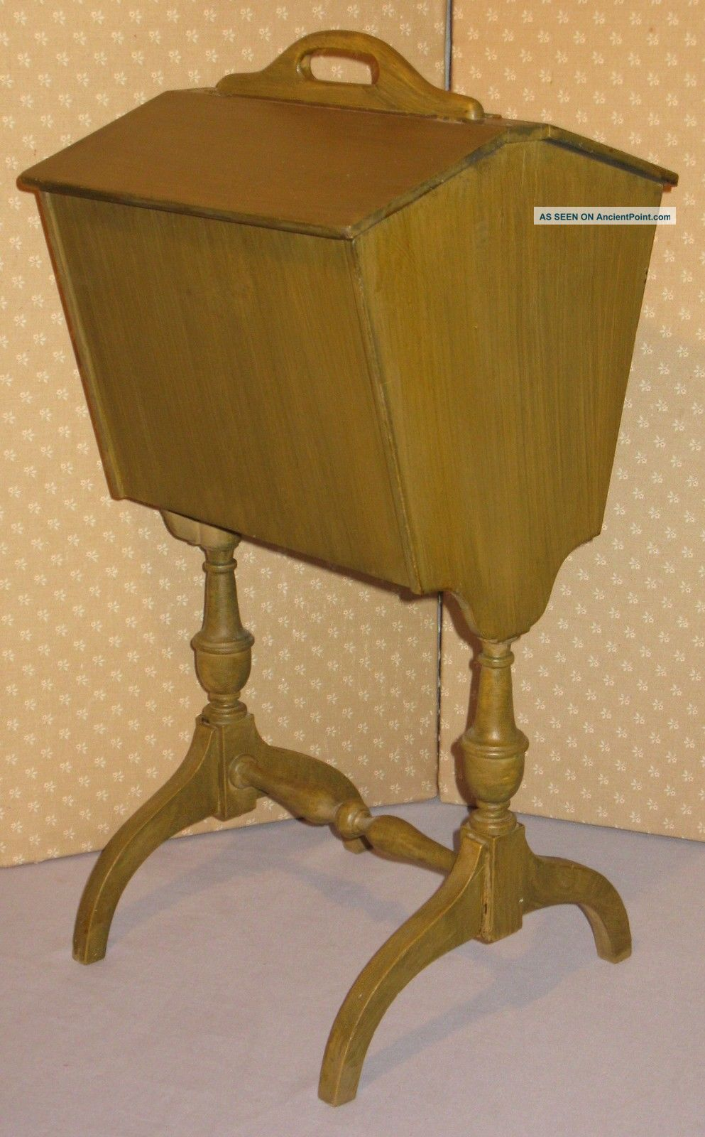 Vintage Sewing Stand Floor Style W/handle Flip Up Top Inside Movable Tray Furniture photo